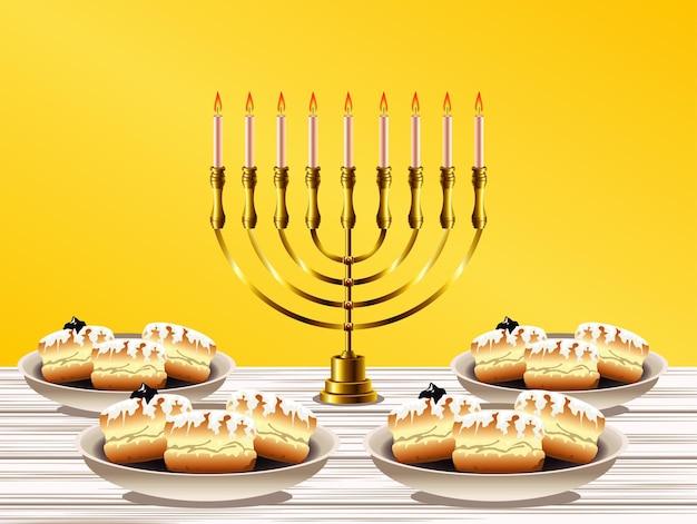 Feliz festa de hanukkah com lustre dourado e donuts doces Vetor Premium