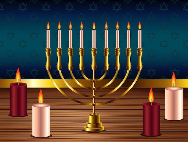 Feliz festa de hanukkah com lustre dourado e velas Vetor Premium