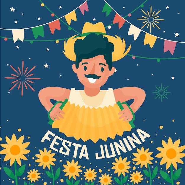 Feliz festa junina festival homem tocando acordeão Vetor grátis