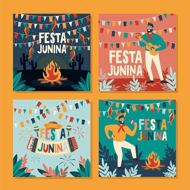 Feliz festa junina festival mão desenhada cartão conjunto Vetor Premium