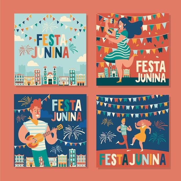 Feliz festa junina festival mão desenhada cartão pack Vetor Premium