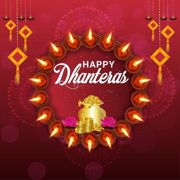 Feliz festival dhanteras da índia e fundo Vetor Premium