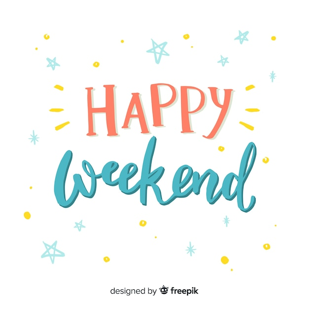 Feliz, fim semana, lettering, fundo Vetor grátis