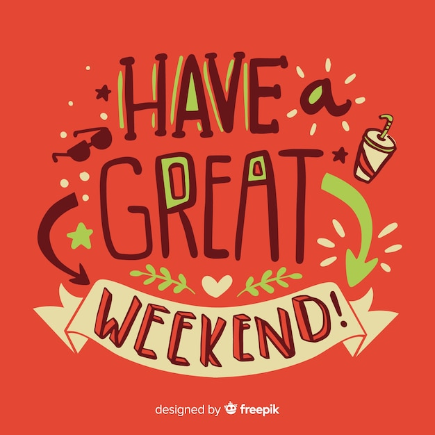Feliz, fim semana, lettering Vetor grátis
