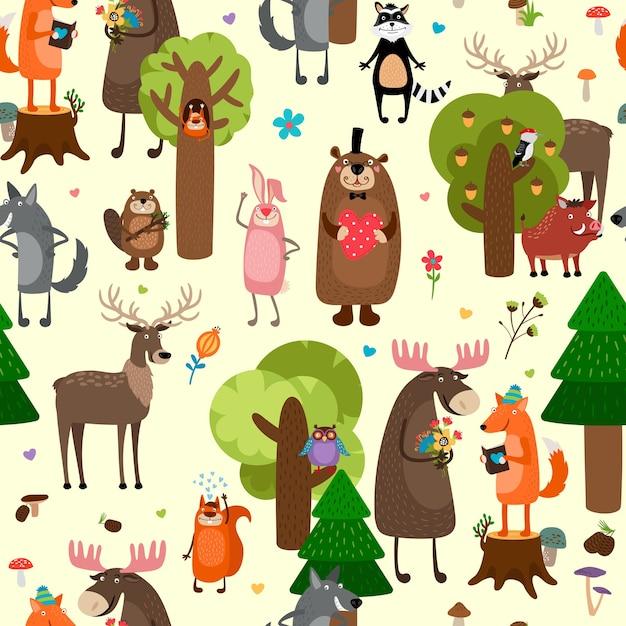 Feliz floresta animais sem costura de fundo. Vetor grátis