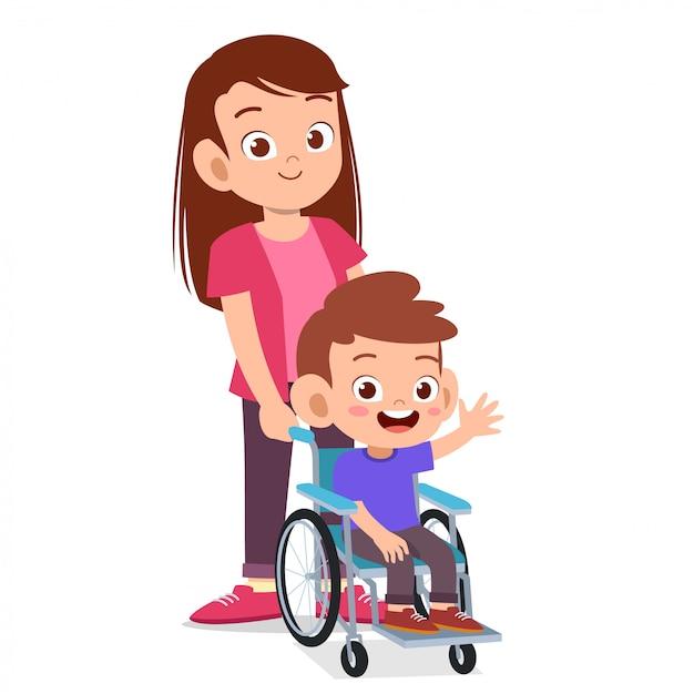 Feliz fofa mãe e criança na cadeira de rodas Vetor Premium