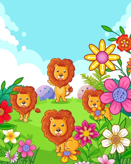 Feliz fofos leões com flores brincando no jardim Vetor Premium