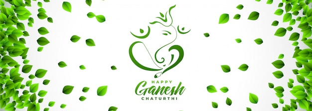 Feliz, ganesh, chaturthi, festival, bandeira, em, eco, folhas, estilo Vetor grátis