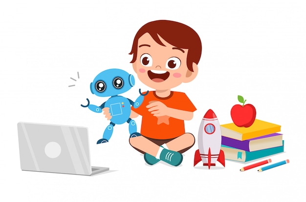 Feliz garoto garoto bonitinho jogar computador e robô Vetor Premium