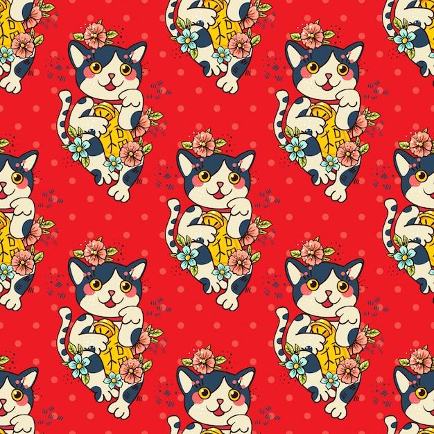 Feliz gato japonês maneki-neko floresceu. Vetor Premium