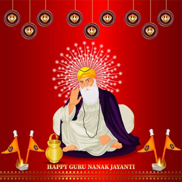 Feliz guru nanak jayanti com ilustração de guru nanak Vetor Premium
