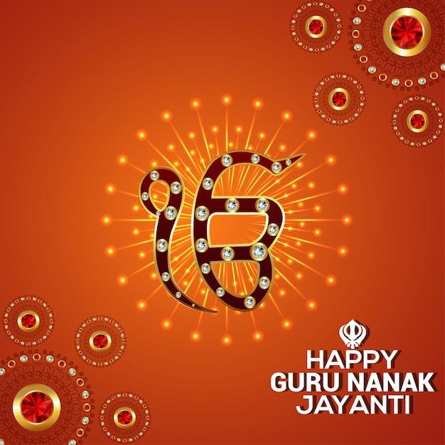 Feliz guru nanak jayanti com o símbolo sokh de ek onkar Vetor Premium