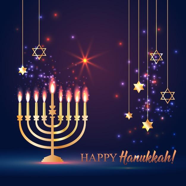 Feliz hanukkah brilhando fundo com menorah, david estrela e efeito bokeh. Vetor Premium