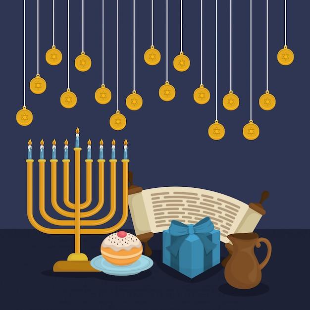 Feliz hanukkah celebração ícones Vetor Premium