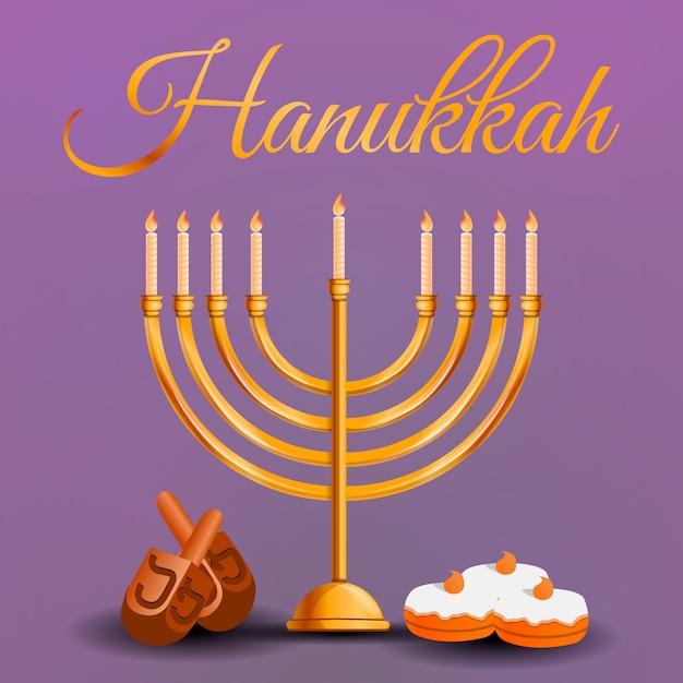 Feliz hanukkah fundo, estilo cartoon Vetor Premium