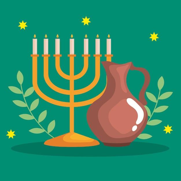 Feliz hanukkah menorá e desenho de jarro de óleo, festa de celebração do feriado do judaísmo Vetor Premium