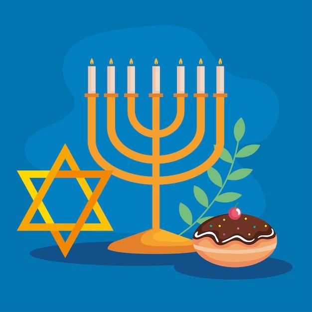 Feliz hanukkah menorah estrela e design sufganiot, festa de celebração do feriado do judaísmo Vetor Premium