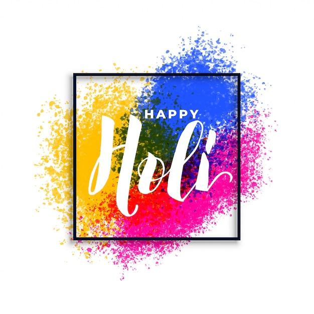 Feliz holi cores splatter festival fundo Vetor grátis