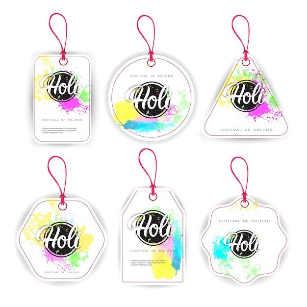 Feliz, holi, religiosas, índia, feriado, tradicional, celebração, tag, jogo Vetor Premium