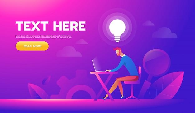 Feliz, homem negócios, trabalhando, em, seu, escrivaninha, e, criando, idéia, bulbos Vetor Premium