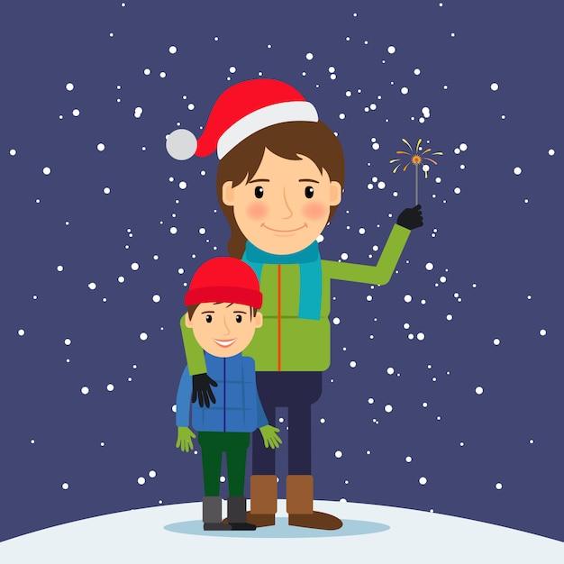 Feliz inverno tempo Vetor Premium