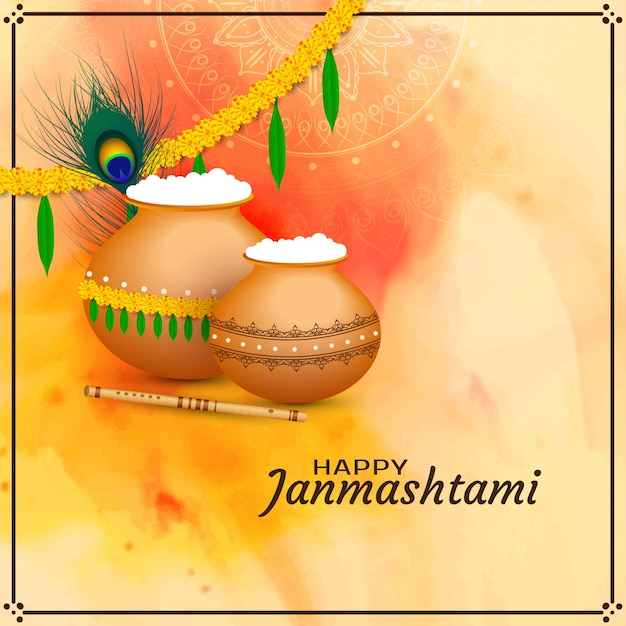 Feliz, janmashtami, celebração, religiosas, fundo Vetor grátis