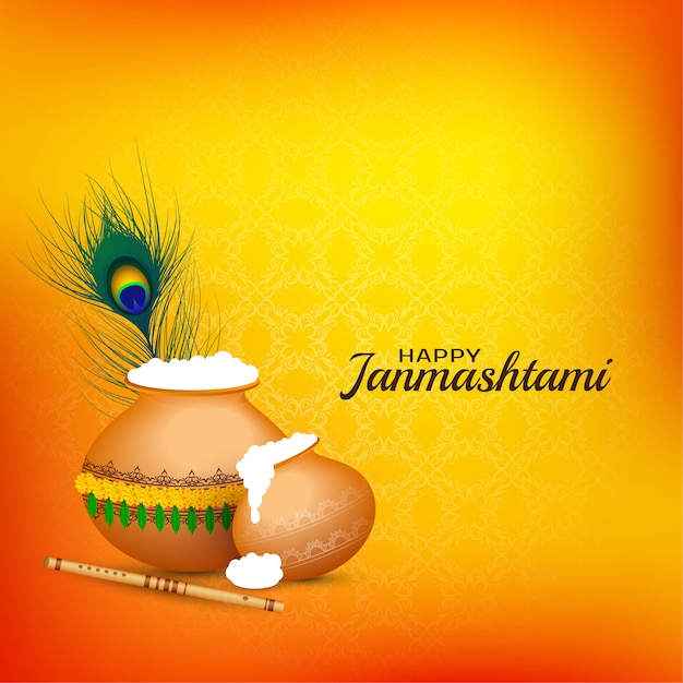 Feliz, janmashtami, celebração, religiosas, fundo Vetor Premium