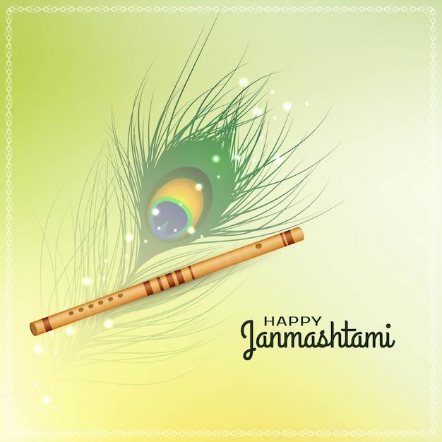 Feliz janmashtami festival fundo com flauta Vetor Premium