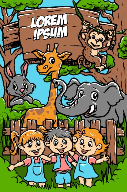 Feliz, jardim zoológico, ilustração Vetor Premium