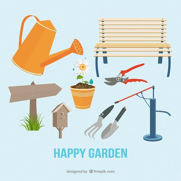 banco de jardim vetor:Watering Garden Cartoon Free Download
