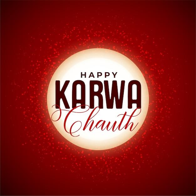 Feliz karwa chauth fundo de lua decorativa do festival indiano Vetor grátis