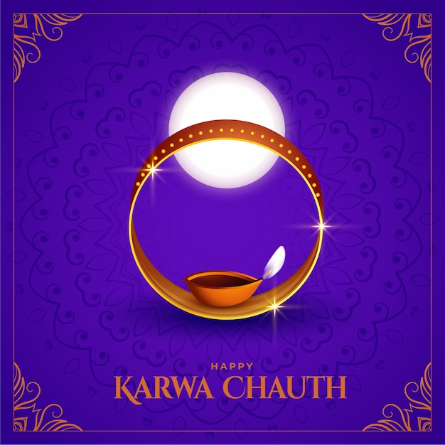 Feliz karwa chauth fundo decorativo do festival indiano Vetor grátis