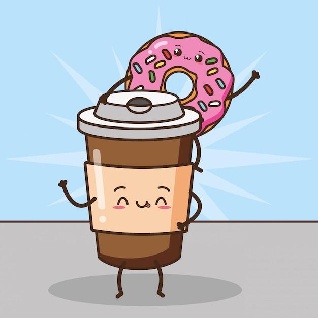 Feliz kawaii café e rosquinhas, comida design, ilustração Vetor grátis