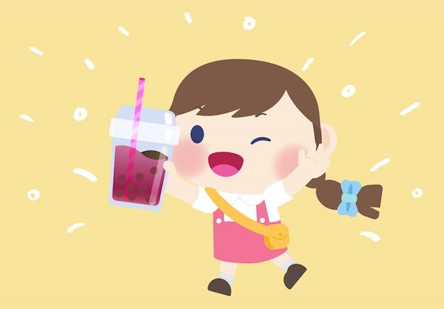 Feliz linda garota bebida boba chá bebida Vetor Premium