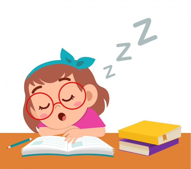 Feliz linda garota dormir enquanto estudava em sala de aula Vetor Premium