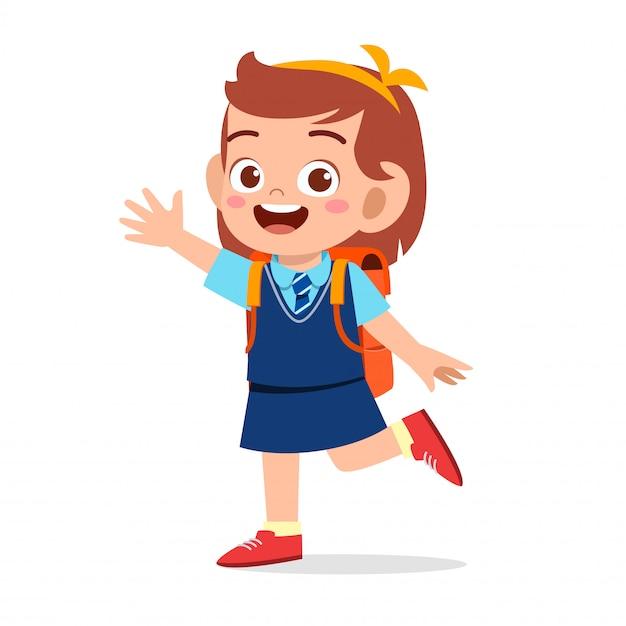 Feliz linda garota pronta para ir para a escola Vetor Premium