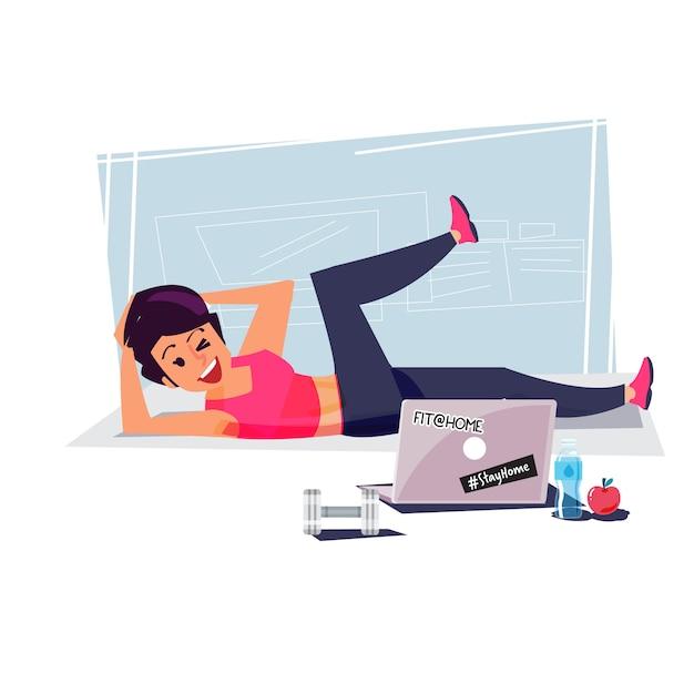 Feliz linda mulher desportiva no sportswear apertado fazendo exercícios Vetor Premium