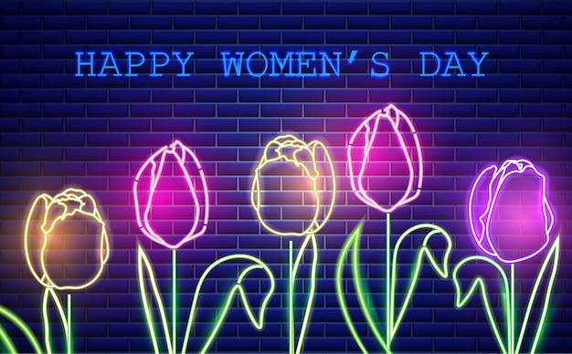 Feliz mãe dia tulipa flores luz de neon Vetor Premium
