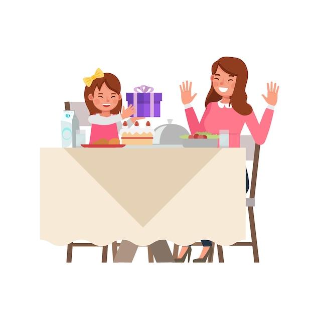 Feliz mãe e filha personagem vector design para o conceito de dia das mães. Vetor Premium