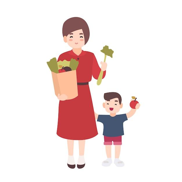 Feliz mãe e filho segurando frutas e legumes. a mãe sorridente e seu filho carregam alimentos saudáveis. personagens de desenhos animados planos bonitos isolados no fundo branco. ilustração colorida. Vetor Premium
