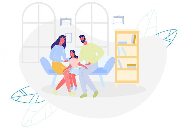 Feliz mãe, pai e filha sentada no sofá Vetor Premium