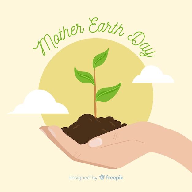 Feliz mãe terra dia mão desenhada fundo Vetor grátis