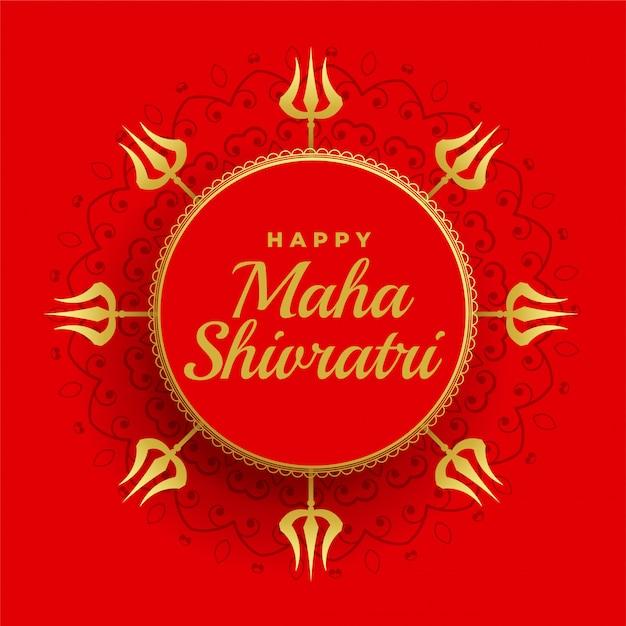 Feliz maha shivratri fundo vermelho com decoração trishul Vetor grátis