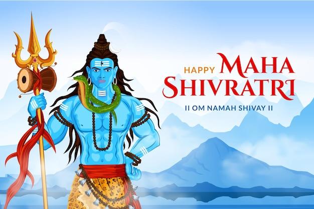 Feliz maha shivratri lord shankar trishul e damru no himalaia Vetor Premium