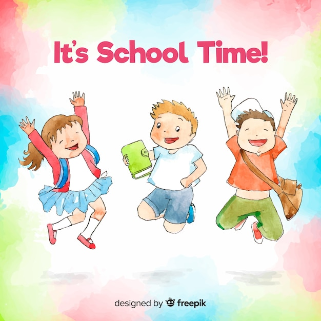 Feliz, mão, desenhado, estudantes, pular Vetor grátis