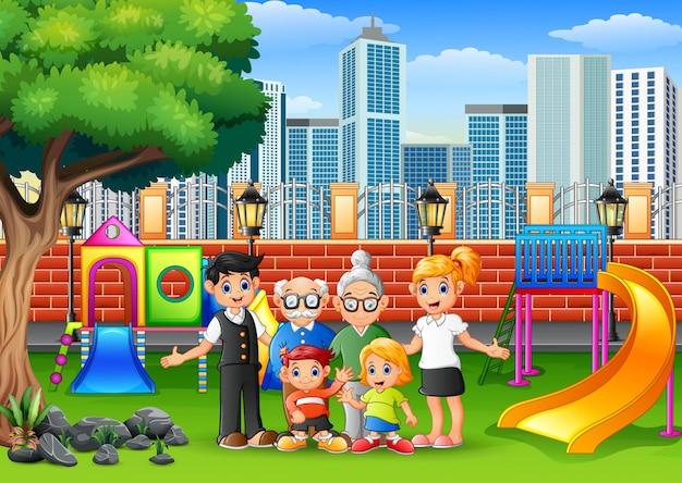 Feliz membro da família no parque da cidade Vetor Premium
