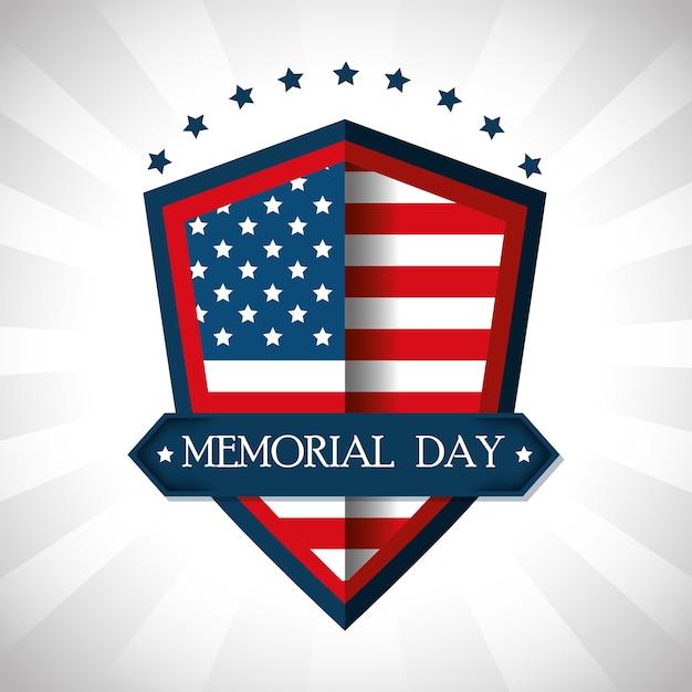 Feliz memorial day shield Vetor Premium