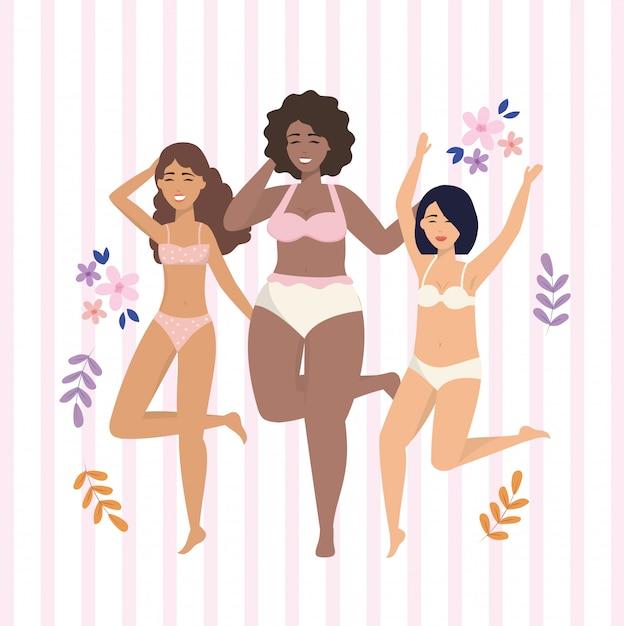 Feliz, meninas, desgastar, underclothes, com, flores, e, plantas Vetor grátis