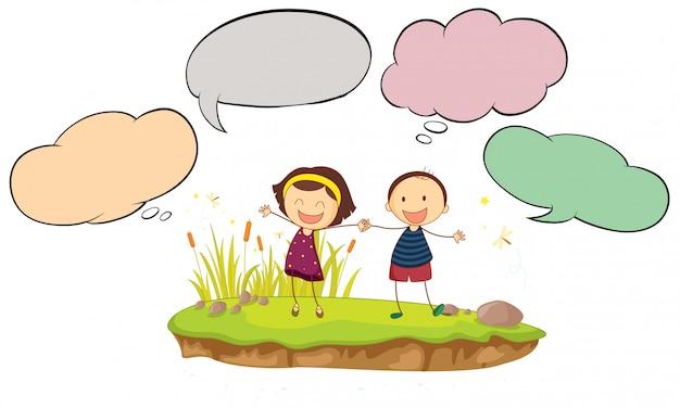 Feliz, menino menina, com, balão fala Vetor grátis