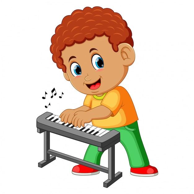 Feliz, menino, piano jogando Vetor Premium